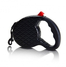 Quilted Retractable Dog Leash- Black
