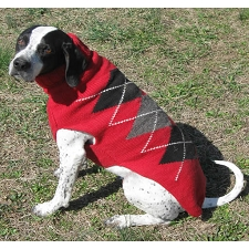 Classic Red Argyle Wool Dog Sweater