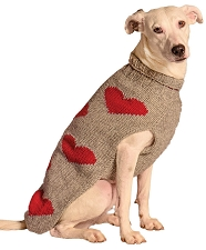 Red Hearts Dog Sweater