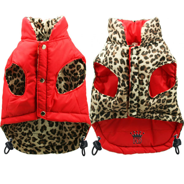 Red Leopard Reversible Puffer Dog Jacket At Glamourmutt Com