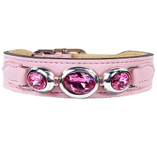 Regency Italian Leather Triple Swarovski Crystal Dog Collar - Sweet Pink