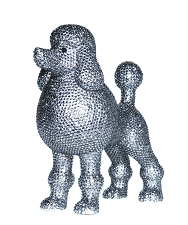 Rhinestone Poodle Dog Sculpture