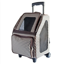Rio Rolling Multifunctional Dog Traveler by PETote - Noir Dots