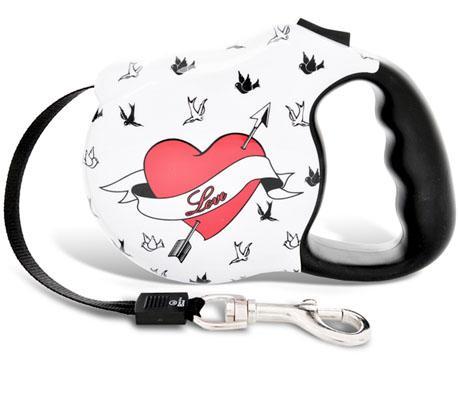 Rockabilly Love Retractable Dog Leash