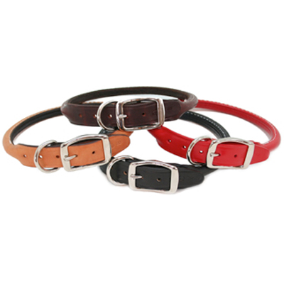Rolled Leather Dog Collars Classic Colors