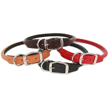 Rolled Leather Dog Collars - Classic Colors