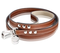 Royal Leather Dog Leash - Red Brown