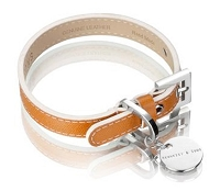 Italian Saffiano Leather Dog Collar - Tan