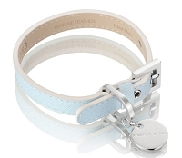 Italian Saffiano Leather Dog Collar - Light Blue