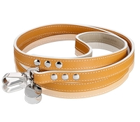 Italian Saffiano Leather Dog Leash - Tan