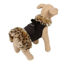 Savannah Fluff Muff Dog Jacket- Black