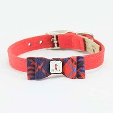 Scotty Plaid Big Bow Collar- Red Pepper