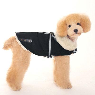 Black Shearling Reflective Dog Harness Coat at GlamourMutt.com