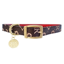 Signature Monogram Leather Dog Collar- Chocolate