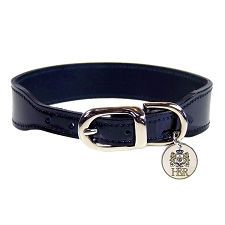 Simplicity Italian Patent Leather Dog Collar - Black