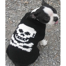 Black and White Skull Wool Dog Sweater