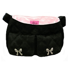 Coco Bow Quilted Snuggle Sack - Black and Pink