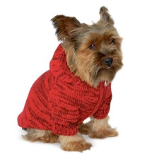 Space Dyed Hoodie Dog Sweater - Red