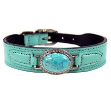 St Tropez Estate Swarovski Crystal Leather Dog Collar- Turquoise