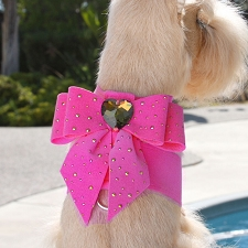 Tail Bow Crystal Gold Stardust Dog Harness- 12 Colors