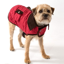Stefan Barn Dog Coat- Cranberry