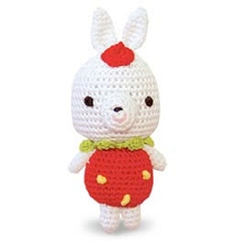 Strawberry Bunny Cotton Knit Dental Dog Toy