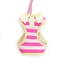 Stripe Polo Harness- Pink