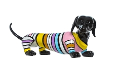 Striped Dachshund Dog Sculpture