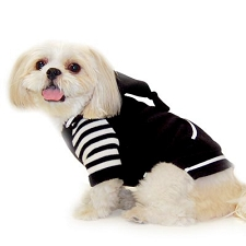 Striped Fleece Sweatshirt Dog Hoodie - Black