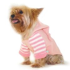 Striped Fleece Sweatshirt Dog Hoodie - Pink