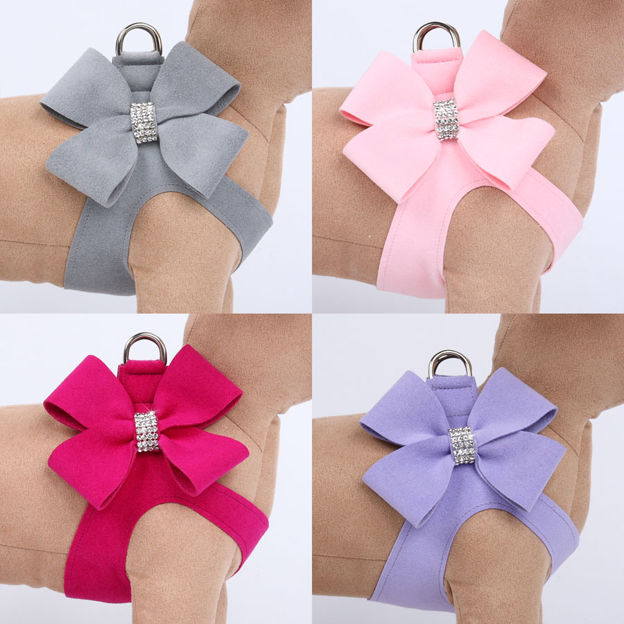 Nouveau Bow Crystal Step-In Harness by Susan Lanci   Ultrasuede Dog