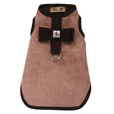 Big Bow Bailey Harness Dog Coat- Mocha Herringbone