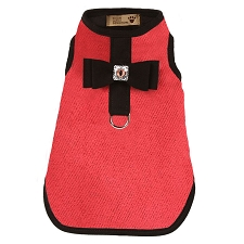 Big Bow Bailey Harness Dog Coat- Red Herringbone