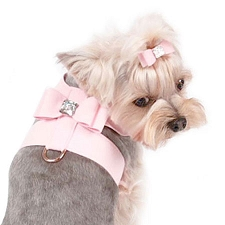 Big Bow Swarovski Crystal Ultrasuede Dog Harness - 20 Colors