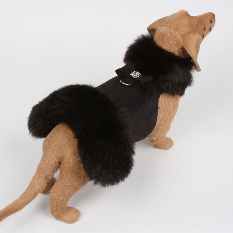 Susan Lanci Big Bow Foxy Fur Dog Coat in Black at