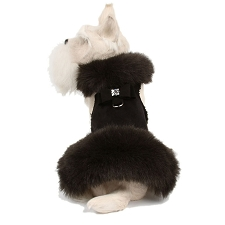 Big Bow Foxy Fur Dog Coat- Black