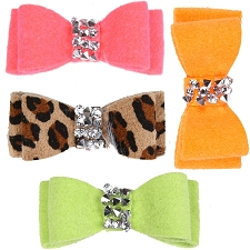 Crystal Rocks Ultrasuede Hair Bows - 34 Colors