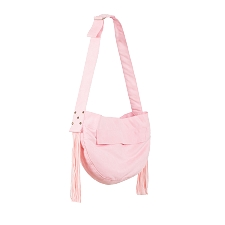 Luxe Suede Fringe Cuddle Carrier- Puppy Pink