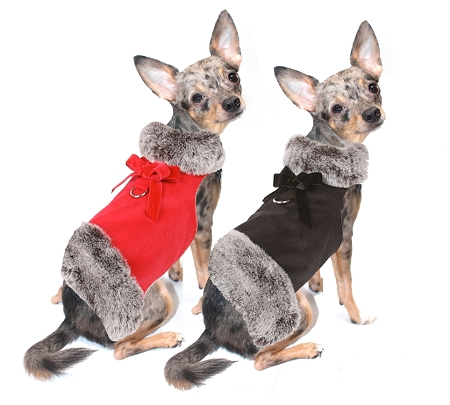 Suede Dog Coat With Grey Faux Fur Dog Coats And Designer