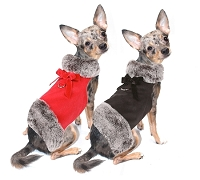 Ultrasuede Dog Coat with Grey Faux Fur- Black, Red