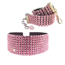 Haute Couture Swarovski Crystal & Italian Leather Dog Necklace - Light Rose