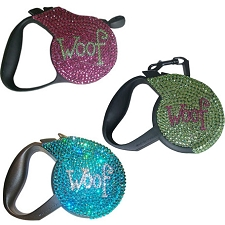 Woof Swarovski Crystal Retractable Dog Leash - Pink, Chartreuse, Turqoise