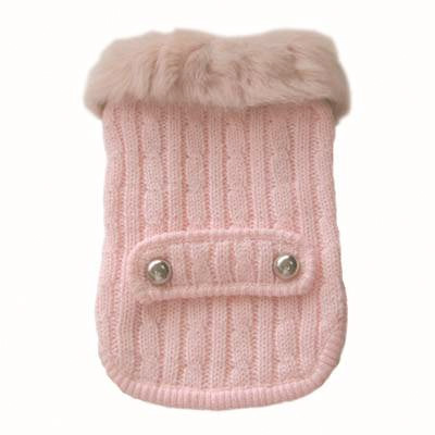 Sweetie Cable Knit Fur Trim Dog Sweater Coat Pink