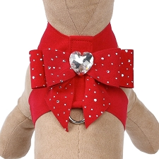 Tail Bow Crystal Silver Stardust Dog Harness- 12 Colors