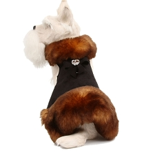 Tail Bow Fluff Muff Fur Dog Coat- Black