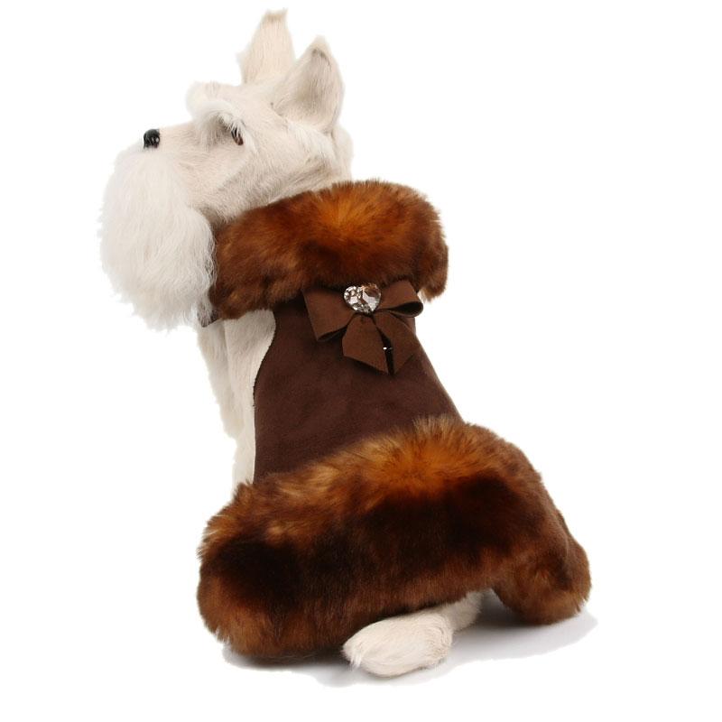 Tail Bow Fluff Muff Fur Dog Coat In Chocolate Susan