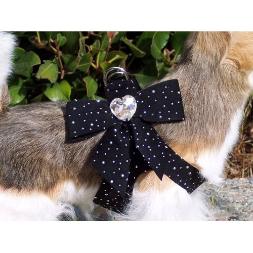 Susan Lanci Tail Bow Swarovski Crystal Dog Harness Black