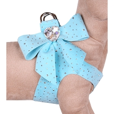 Tail Bow Heart Swarovski Crystal Dog Harness- Stardust Tiffy Blue