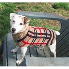 Tan Plaid Wool Dog Sweater