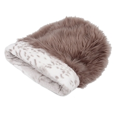 Cuddle Cup Dog Bed -Taupe with Platinum Snow Leopard